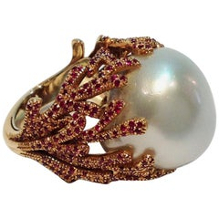 Paolo Piovan Rubies South Sea Pearl Pink Gold Cocktail Ring