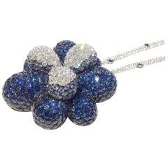 Paolo Piovan Sapphires Diamonds 18 Karat White Gold Necklace