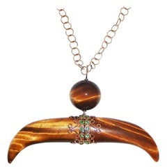 Paolo Piovan Tsavorite and Tiger Eye Horn 18 Karat Rose Gold Necklace