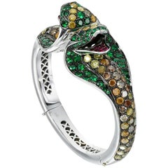 "Paolo Piovan Tsavorite, Ruby and Diamond ""Cobra"" Bangle in 18 Karat White Gold"