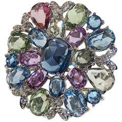 Paolo Piovan White Diamonds and Sapphires 18 Karat Gold Ring