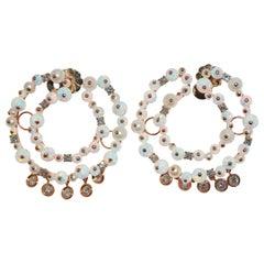 Paolo Piovan White Diamonds, Opals and Pearls 18 Karat Gold Hoop Earrings