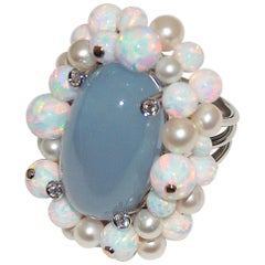 Paolo Piovan White Diamonds, Opals, Pearls, Chalcedony 18 Karat Gold Ring