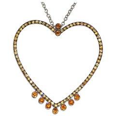 Paolo Piovan Yellow Sapphires 18 Karat White Gold Heart Necklace