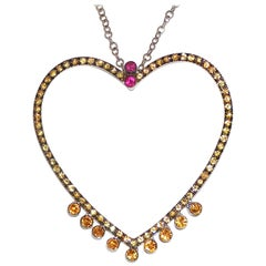 Paolo Piovan Yellow Sapphires and Rubies 18 Karat White Gold Heart Necklace