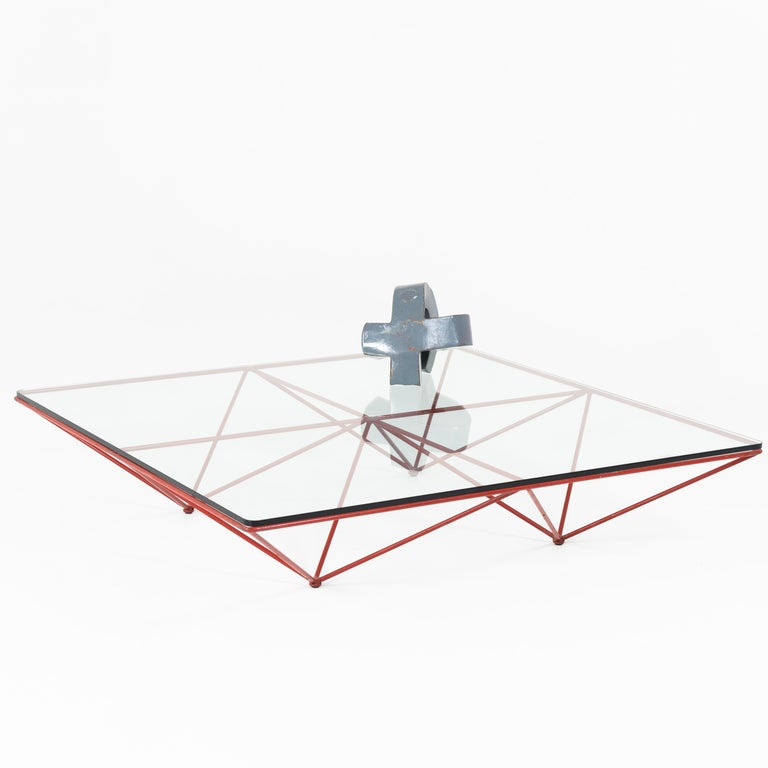 Square coffee table on red iron frame with glass top by Paolo Piva. Signs of age and use.