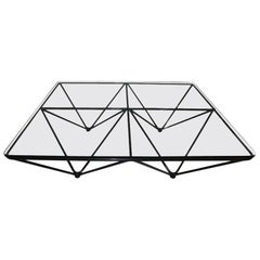 Paolo Piva Mid-Century Modern Square Black Metal Glass, Italy, 1970