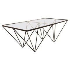 Paolo Piva Style Glass and Steel Coffee Table, 1970s