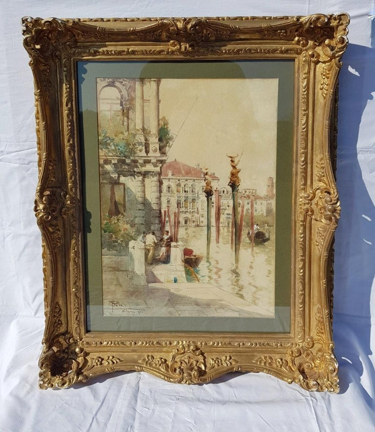 19th century Italian painting view of Venice, Venetian watercolor on paper Italy - Painting by Paolo Sala