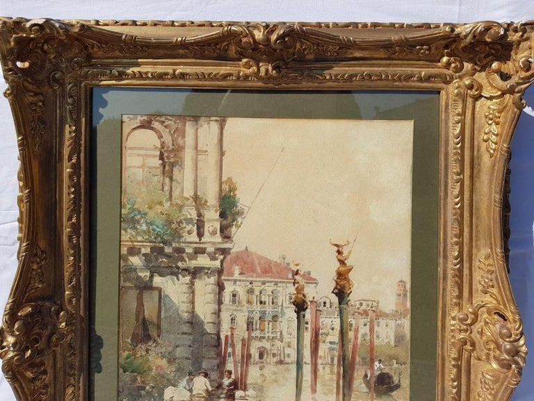 19th century Italian painting view of Venice, Venetian watercolor on paper Italy - Realist Painting by Paolo Sala