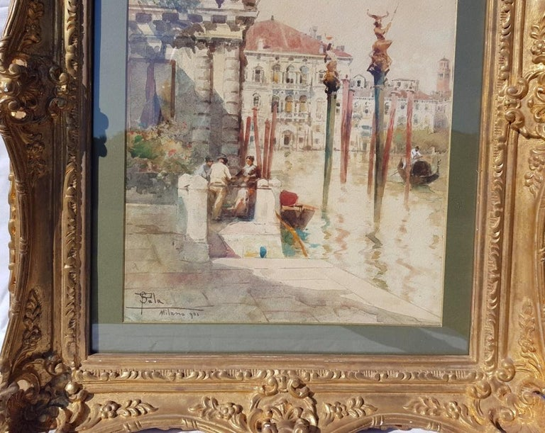 19th century Italian painting view of Venice, Venetian watercolor on paper Italy - Brown Landscape Painting by Paolo Sala