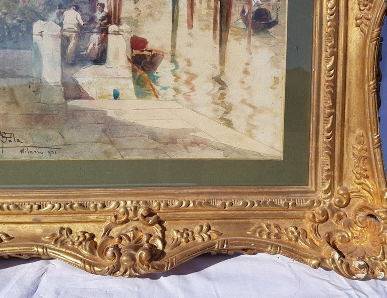 19th century Italian painting view of Venice, Venetian watercolor on paper Italy For Sale 1