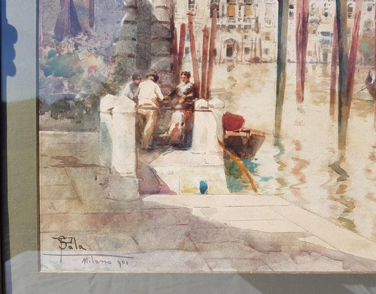 19th century Italian painting view of Venice, Venetian watercolor on paper Italy For Sale 2