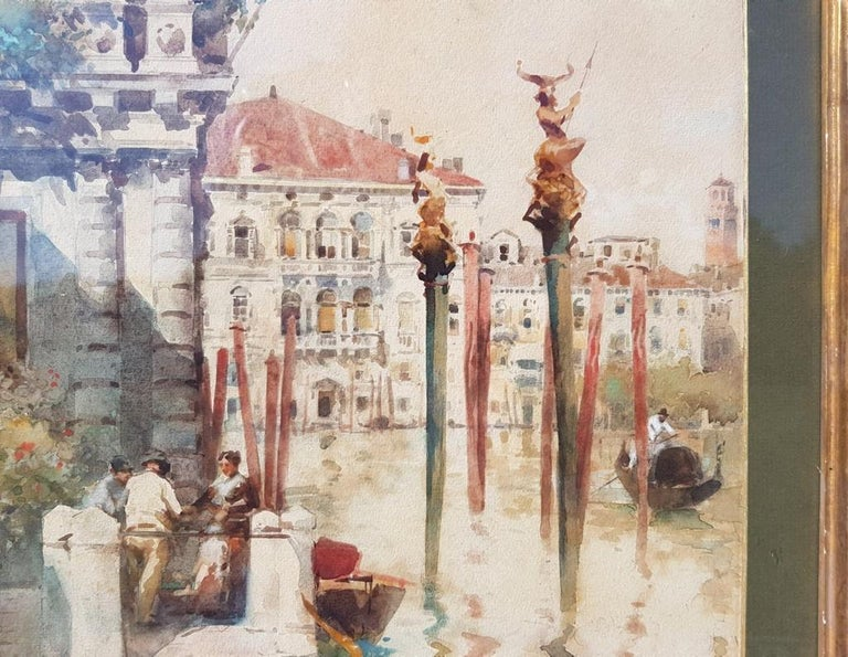 19th century Italian painting view of Venice, Venetian watercolor on paper Italy For Sale 3