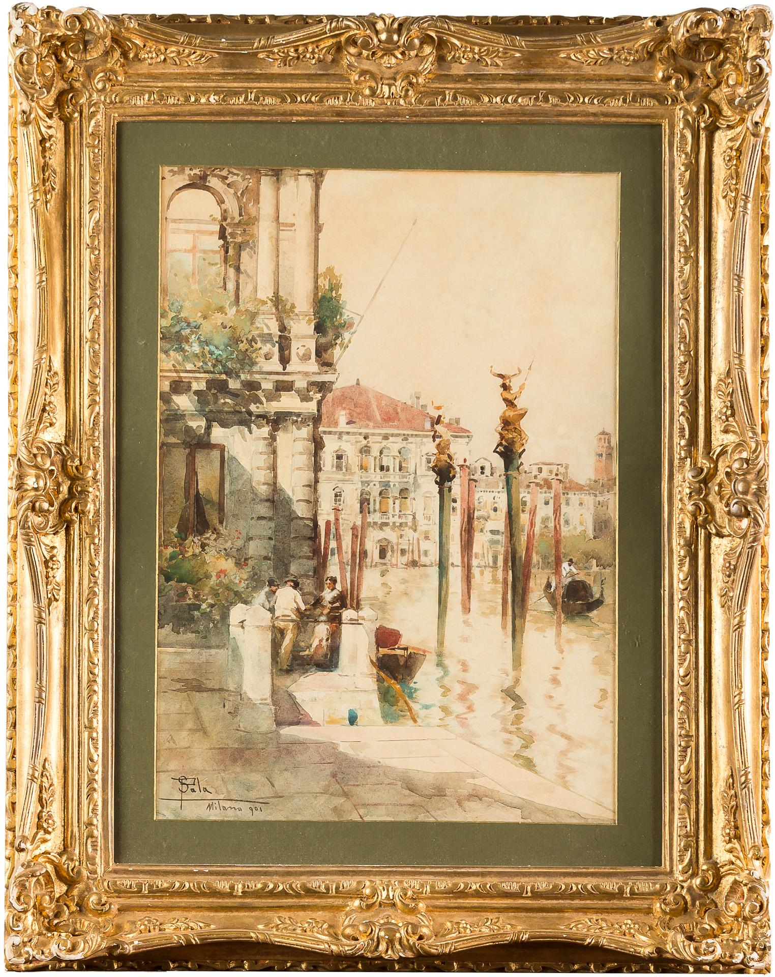 19th century Italian painting view of Venice, Venetian watercolor on paper Italy