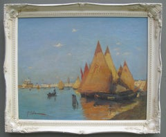 'Venice, View of the Lagoon from the Guidecca' oil on canvas mid 20th Century