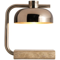Paolo Salvi Table Lamp in Travertine and Chromed Metal