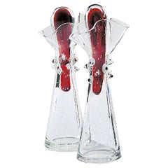 Paolo Set of Two Glass Cruets with Red Glass Top by Borek Sipek for Driade