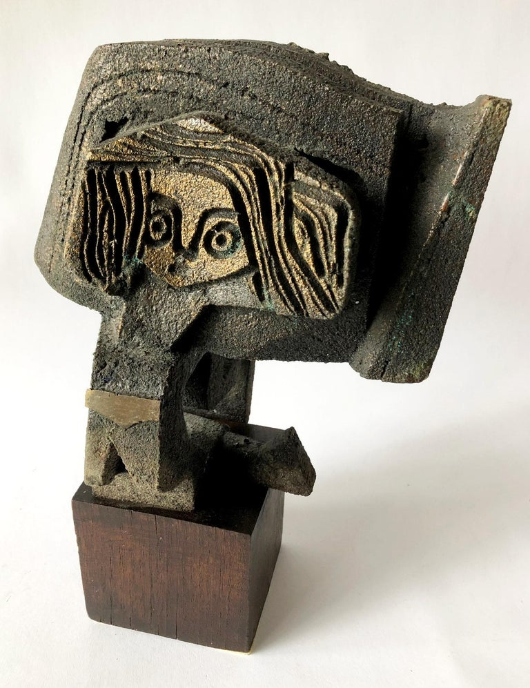 Paolo Soleri Abstract Figural Bronze on Wood Base