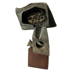 Paolo Soleri Abstract Figural Bronze on Wood Base Sculpture