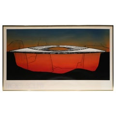 """Paolo Soleri Silkscreen """"Bow Bridge"""""""