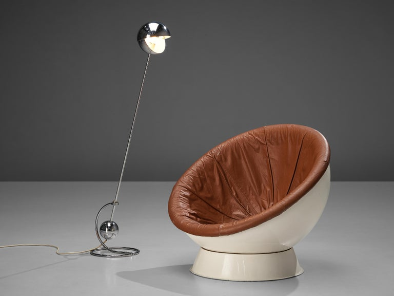Italian Paolo Tilche Adjustable Floor Lamp 3S with Space Age Lounge Chair in Leather For Sale