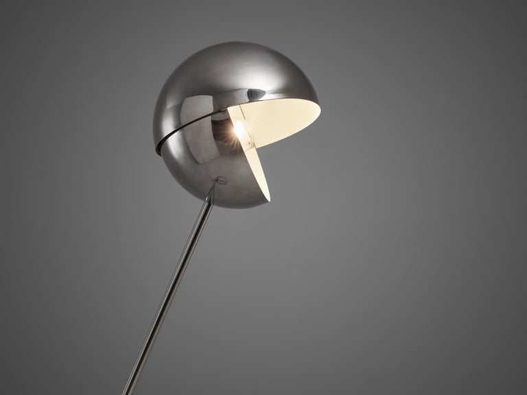 Metal Paolo Tilche Adjustable Floor Lamp 3S with Space Age Lounge Chair in Leather For Sale