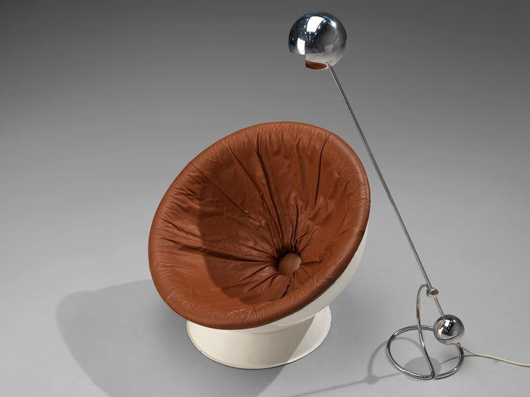 Paolo Tilche Adjustable Floor Lamp 3S with Space Age Lounge Chair in Leather For Sale 1
