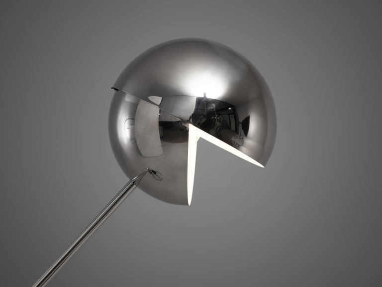 Paolo Tilche Adjustable Floor Lamp Model 3S in Chrome-Plated Metal In Good Condition For Sale In Waalwijk, NL