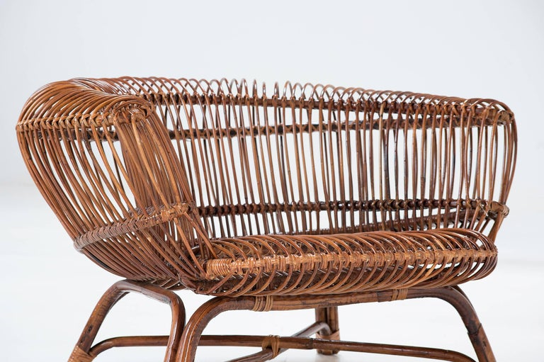 "20th Century Paolo Tilche Pair of Italian Mid-Century Modern Ratan Armchairs Model ""Silvia"" For Sale"