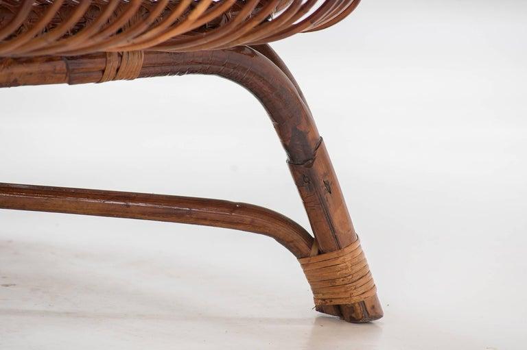 "Rattan Paolo Tilche Pair of Italian Mid-Century Modern Ratan Armchairs Model ""Silvia"" For Sale"