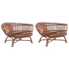 "Paolo Tilche Pair of Italian Mid-Century Modern Ratan Armchairs Model ""Silvia"""