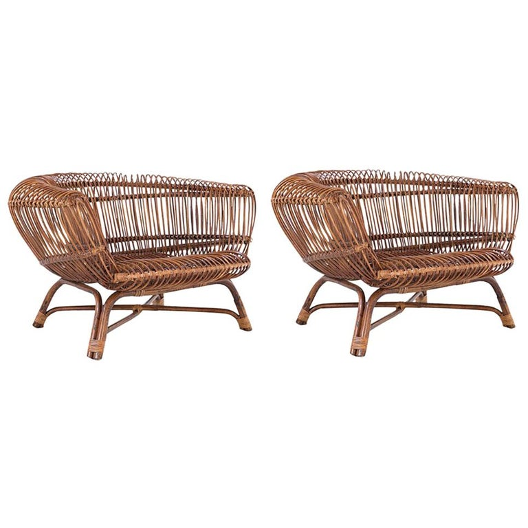 """Paolo Tilche Pair of Italian Mid-Century Modern Ratan Armchairs Model """"Silvia"""" For Sale"""