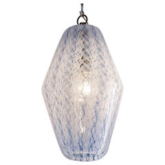Paolo Venini Ceiling Light in White and Blue Blown Zanfirico Glass, Italy, 1950s