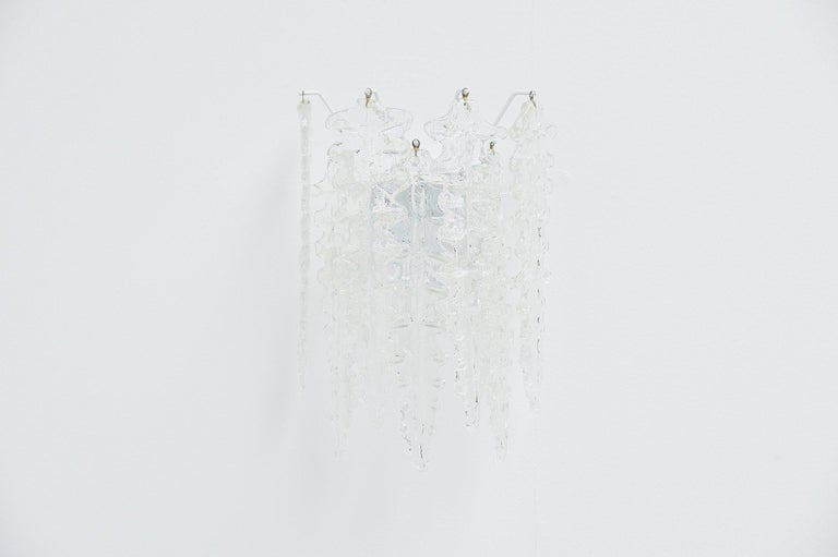 Mid-20th Century Paolo Venini Clear Glass Wall Lamp, Italy, 1960 For Sale