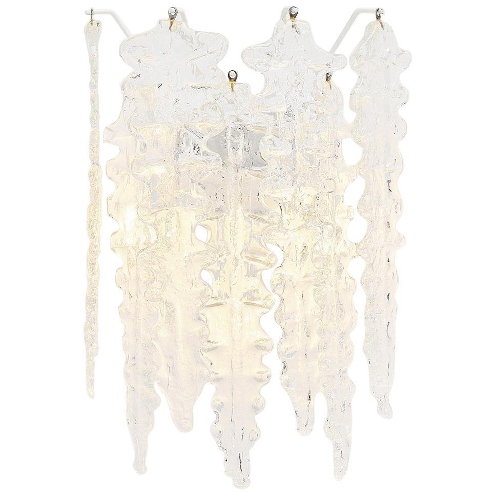 Paolo Venini Clear Glass Wall Lamp, Italy, 1960