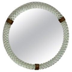 Paolo Venini for Venini Cordonato Round Murano Glass Mirror Pale Green