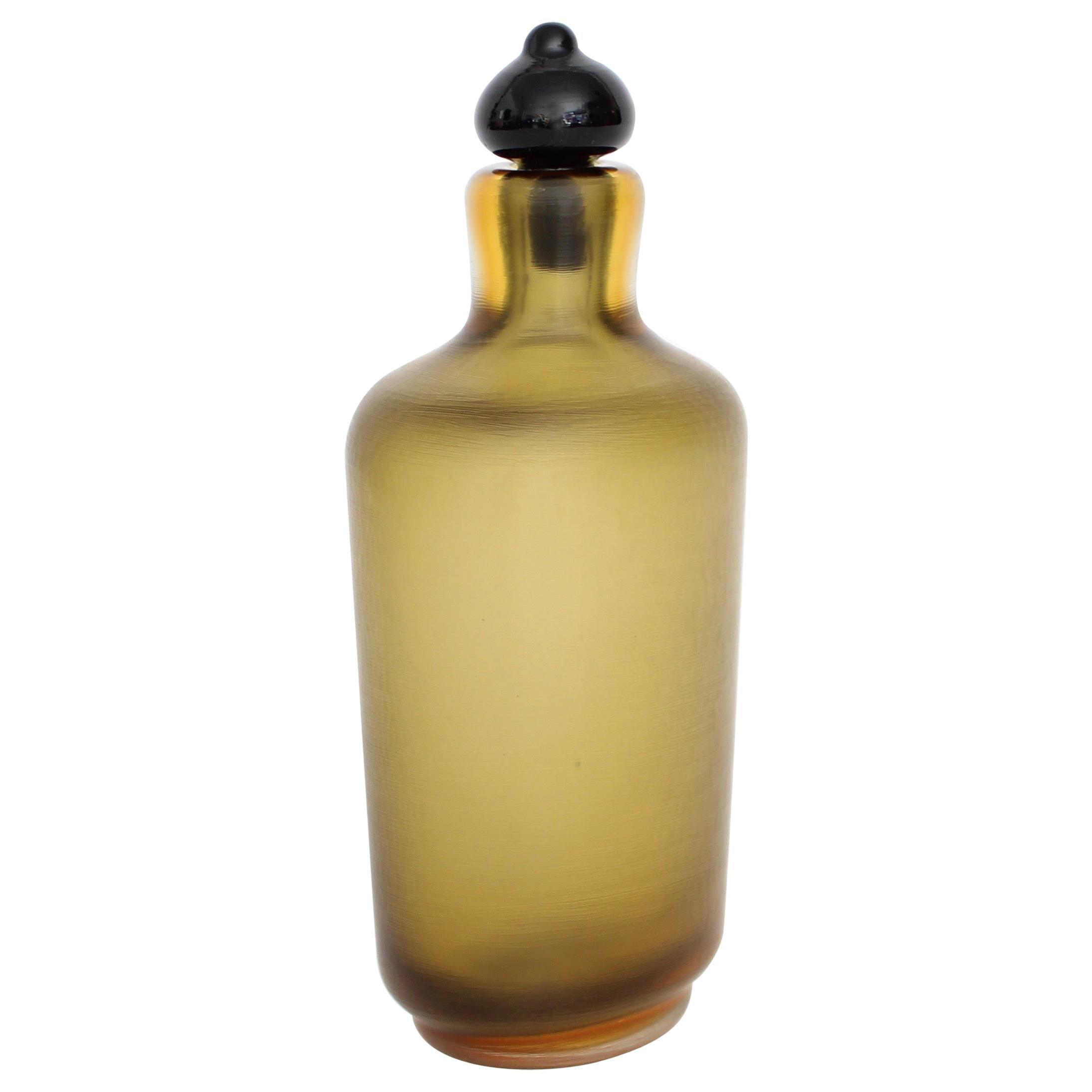 Paolo Venini for Venini Inciso Murano Amber Glass Italian Bottle