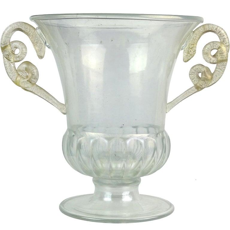 Paolo Venini Murano Iridescent Gold Flecks Italian Art Glass Snakes Trophy Vase For Sale