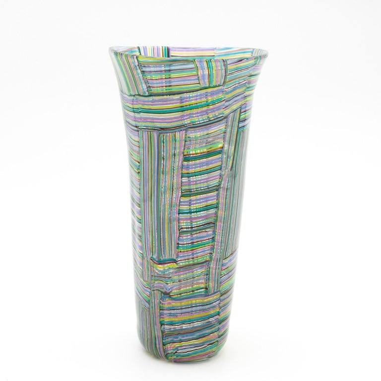 Mid-20th Century Paolo Venini, Rare and Important Mosaico Tessuto Vase, Venini Murano Italia For Sale