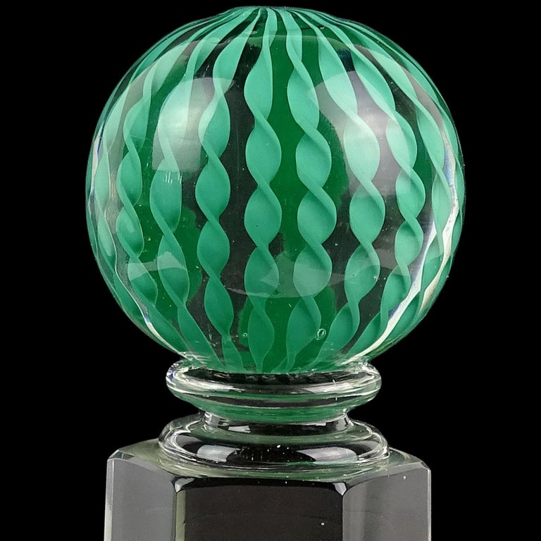 Mid-Century Modern Paolo Venini Signed Murano Teal Filigrana Ribbons Italian Art Glass Paperweight For Sale