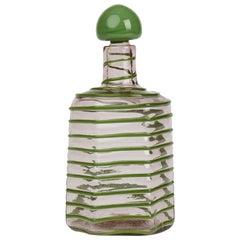 Paolo Venini Green Trailed Spiral Glass Decanter, circa 1950