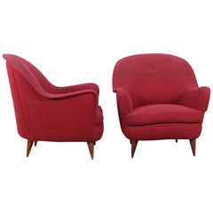 Paolo Veronesi Midcentury Red Fabric and Wood pair of Armchairs, 1960s