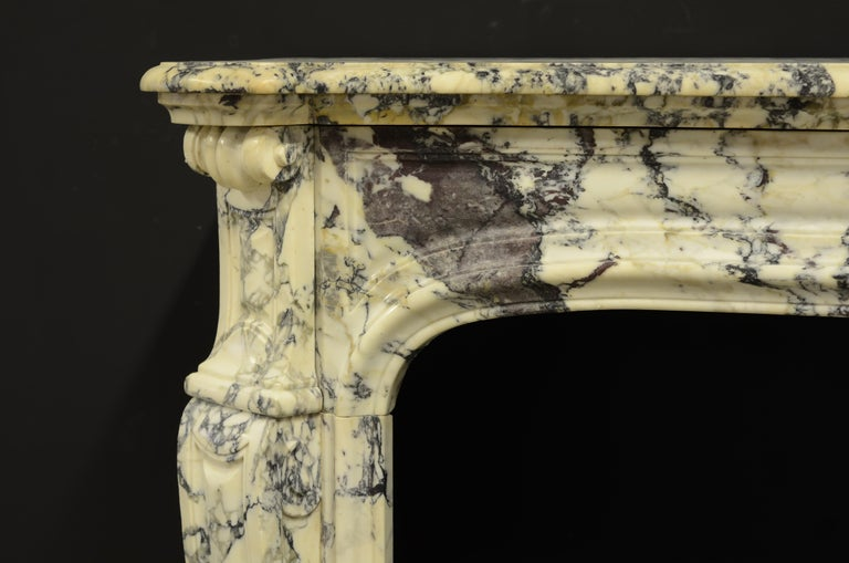 French Paonazetto Pompadour Fireplace Mantel For Sale