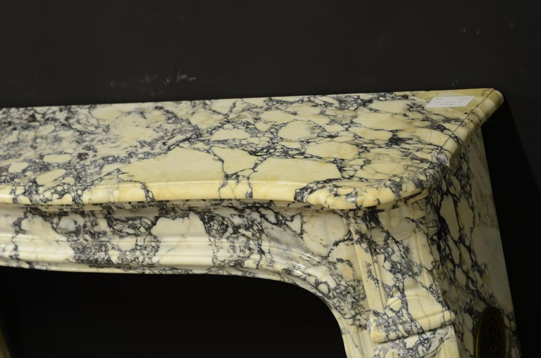 19th Century Paonazetto Pompadour Fireplace Mantel For Sale