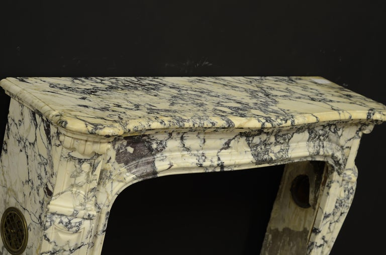 Marble Paonazetto Pompadour Fireplace Mantel For Sale
