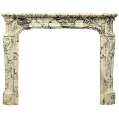Antique Marble Fireplace Mantel, Pompadour Style