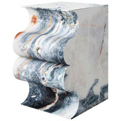 Un Beso En El Mar Marble Sculpted Stool by Pietro Franceschini
