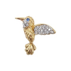 Pap Gold and Crystal Hummingbird Brooch Pin, 20th Century Vintage