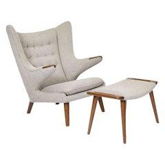 Papa Bear Chair and Stool by Hans J. Wegner for A.P. Stolen, Denmark, 1950s